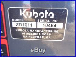 2016 Kubota ZD1011 Zero Turn Mower, 19HP Diesel, 48in Hyd Lift Deck, 136 Hours