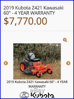 2018 Kubota Z421k 60in Zero Turn Mower Kawaski Eng Only 56Hrs! With Full Warr