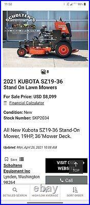 2020 Kubota SZ19-36 Commercial Stand On Zero Turn Mower Low Hrs! Kawasaki Eng